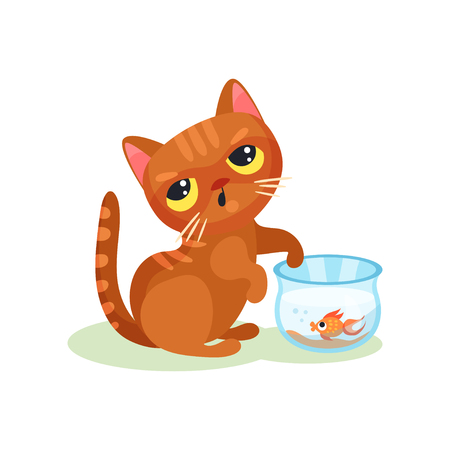 Naughty kitten trying to catch aquarium fish, mischievous cute little cat vector Illustration on a white background