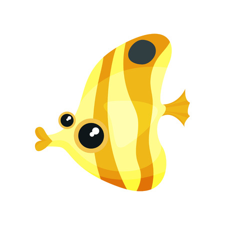 Illustration of yellow-orange moorish idol fish. Small marine creature with shiny eyes. Graphic element for sticker or greeting card. Colorful vector icon in flat style isolated on white background.