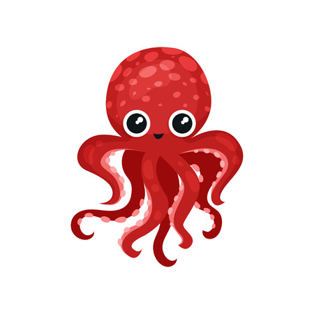 Cute red octopus with big shiny eyes. Soft-bodied mollusk with seven tentacles. Sea and ocean theme. Graphic element for postcard or social network sticker. Isolated vector illustration in flat style.  イラスト・ベクター素材