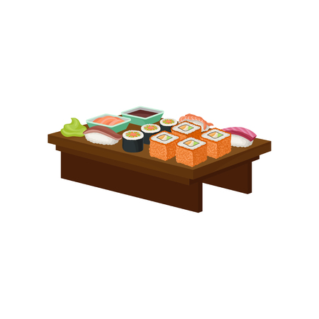 Illustration of wooden plate with different sushi rolls, wasabi and small bowls with sauces. Asian food theme. Graphic design for cafe menu. Colorful flat vector icon isolated on white background.