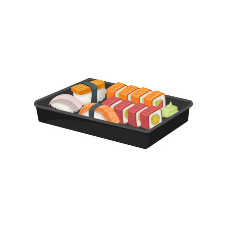 Black plastic tray with set of sushi rolls. Appetizing Japanese food. Asian cuisine. Colorful graphic design for promo poster or flyer. Vector illustration in flat style isolated on white background.