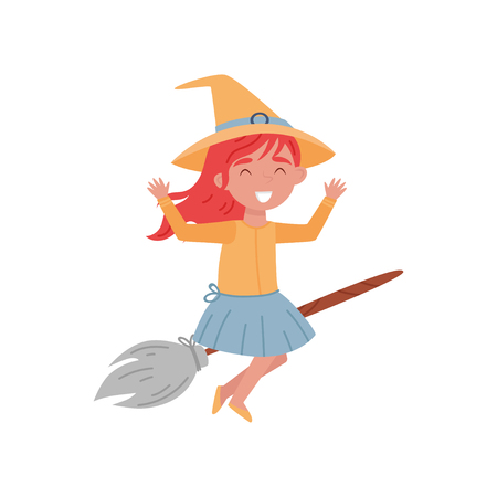 Cute smiling red haired little girl dressed as a witch flying on a broom vector Illustration isolated on a white background.