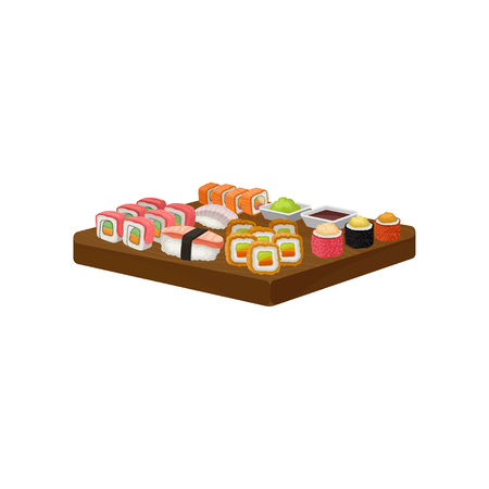 Set of sushi rolls, wasabi and soy sauce on wooden plate. Traditional food of Asian cuisine. Graphic element for promo flyer of Japanese restaurant. Flat vector design isolated on white background.