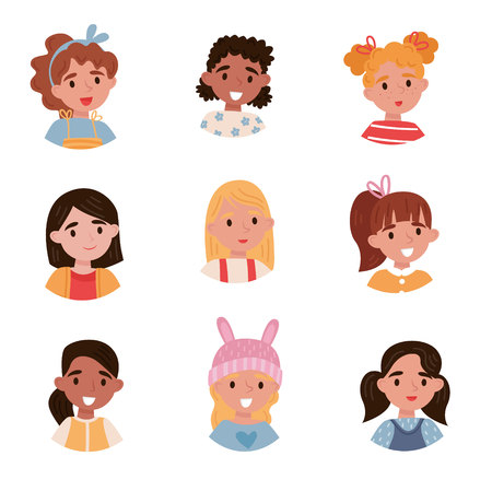 Lovely girls set, avatars of cute little kids with different emotions and hairstyles vector Illustrations isolated on a white background.