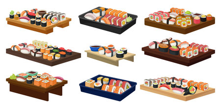 Collection of plates with sushi rolls. Traditional Asian food. Japanese cuisine. Graphic design for advertising flyer, cafe or restaurant menu. Colorful flat vector icons isolated on white background. Illustration