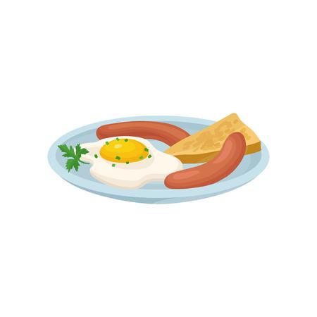 Huevo frito con salchicha y pan, desayuno nutritivo fresco, elemento de diseño para menú, cafetería, restaurante vector ilustración aislada sobre fondo blanco. Ilustración de vector