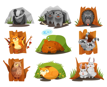Cute animals sitting in burrows and hollows set, badger, wolves cubs, hedgehog, squirrel, bear cub, raccoon, owlet, fox, hares inside their homes vector Illustration isolated on a white background. 矢量图片