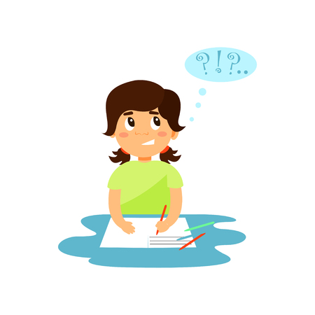Jolie fille pensant tout en écrivant dans son vecteur de cahier Illustration isolé sur fond blanc.