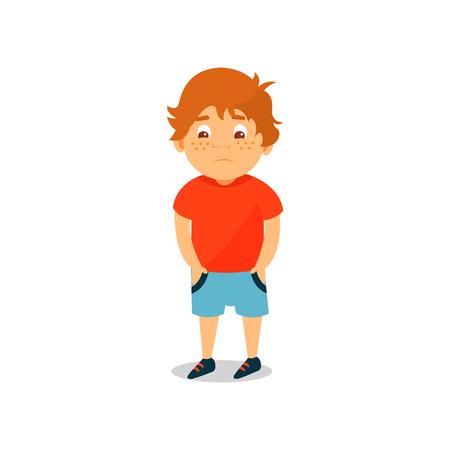 Mignon garçon sérieux debout et tenant ses mains dans ses poches vector Illustration isolé sur fond blanc. Vecteurs