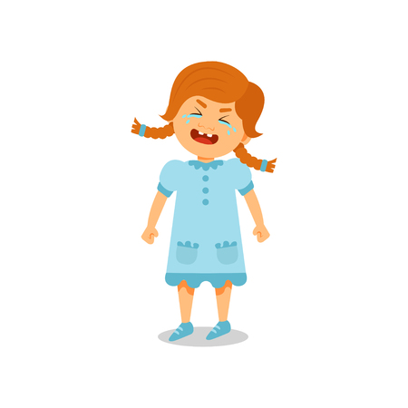 Cute little girl crying vector Illustration isolated on a white background.