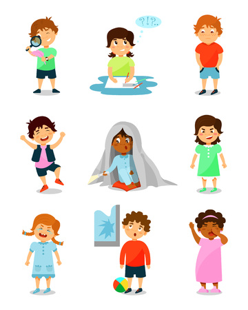 Cute little kids with different emotions set, thinking, happy, scared, angry, crying and sleepy boys and girls vector Illustrations on a white background