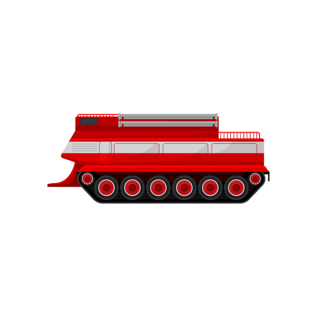 Red fire caterpillar vehicle, emergency vehicle, side view vector Illustration on a white background Vectores