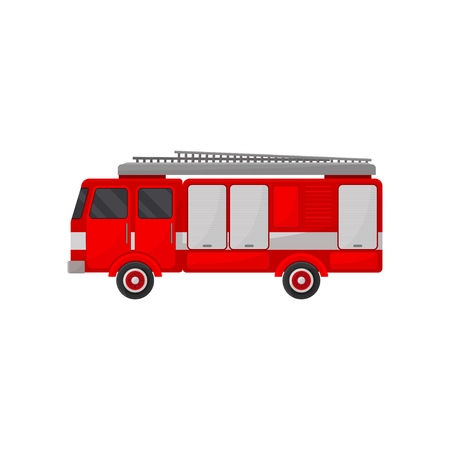 Fire truck engine, emergency vehicle, side view vector Illustration isolated on a white background.