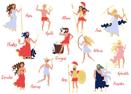 Olympian Greek Gods set, Hera, Dionysus, Zeus, Demetra, Hermes, Ares, Artemis, Aphrodite, Poseidon, ancient Greece myths cartoon characters vector Illustration on a white background