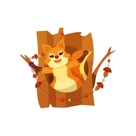 Cute happy squirrel sitting in hollow of tree vector Illustration isolated on a white background. Stock Illustratie