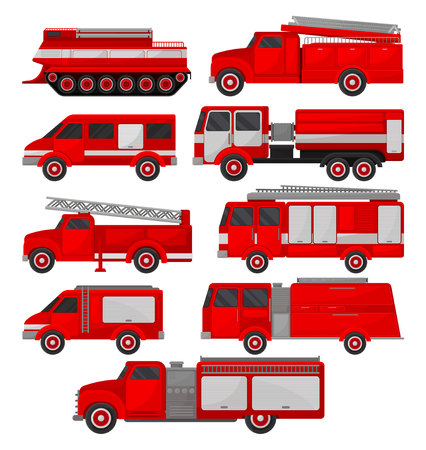Fire trucks set, emergency vehicles, side view vector Illustrations isolated on a white background.
