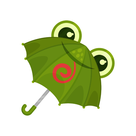 ute green frog umbrella vector Illustration on a white background 向量圖像