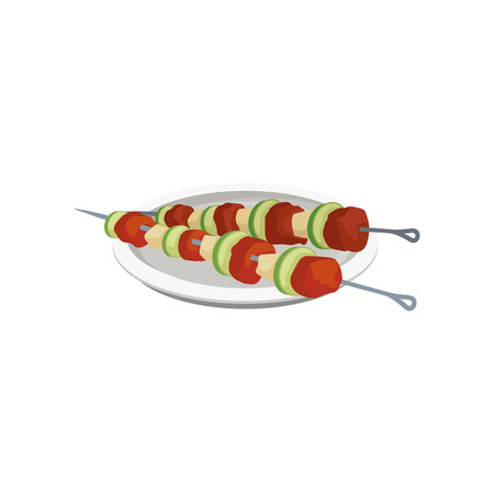 Barbeque kebabs on skewers on a plate, grilled meat vector Illustration isolated on a white background.