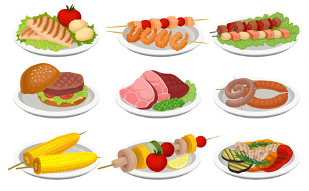 Grilled food set, delicious dishes for barbecue party menu, meat and vegetarian food vector Illustration isolated on a white background.