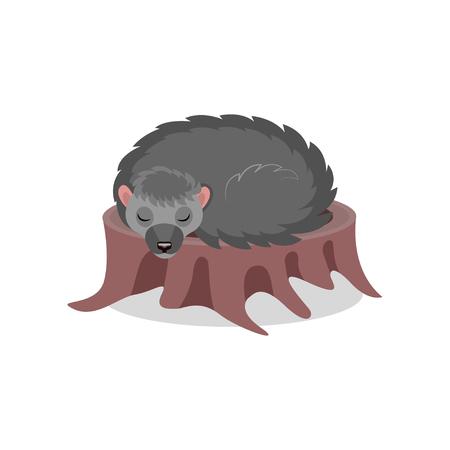 Hedgehog sleeping on a tree stump, cute animal cartoon character vector Illustration isolated on a white background. Illustration