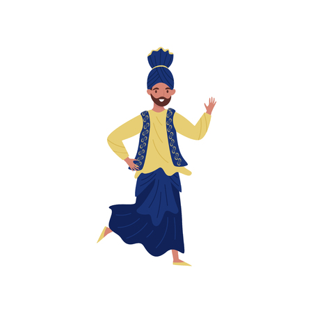 Indian man dancing in traditional clothes vector Illustration on a white background