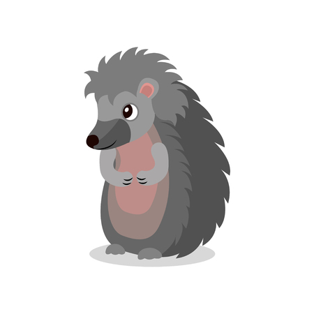 Cute hedgehog standing on two legs, sweet animal cartoon character vector Illustration isolated on a white background.