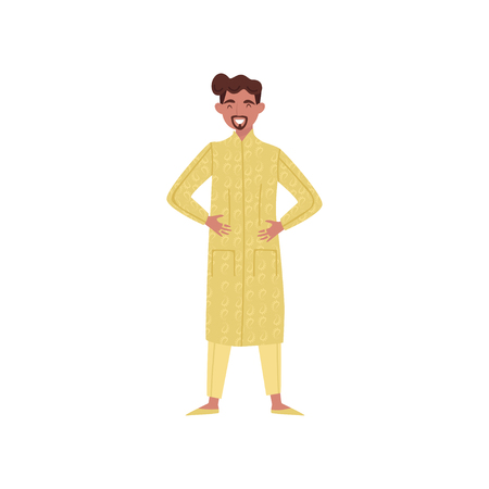 Smiling Indian man in traditional clothes vector Illustration on a white background