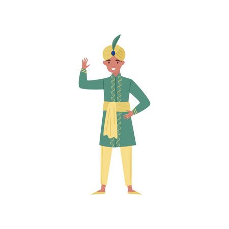 Joven indio en un turbante y ropa tradicional vector ilustración sobre un fondo blanco