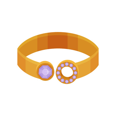 Gold ring, fashionable jewelry vector Illustration isolated on a white background.