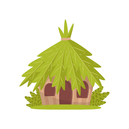 Small hut in tropical jungle vector Illustration isolated on a white background.