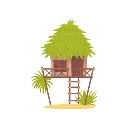 Bungalow, hut in tropical jungle vector Illustration isolated on a white background.