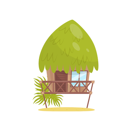 Beach bungalow, tropical house vector Illustration isolated on a white background. Stock Illustratie