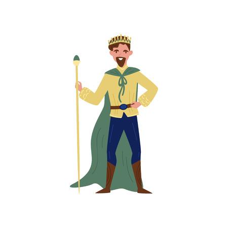 Maestoso re in mantello verde in piedi con personale, personaggio da favola vettoriale illustrazione isolato su sfondo bianco.