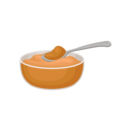 Bowl of peanut butter vector Illustration isolated on a white background. Çizim