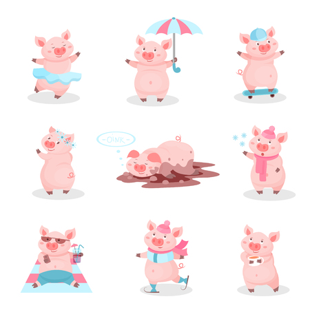 Funny pigs activity set, cute piglets cartoon characters in different situations vector Illustration isolated on a white background.