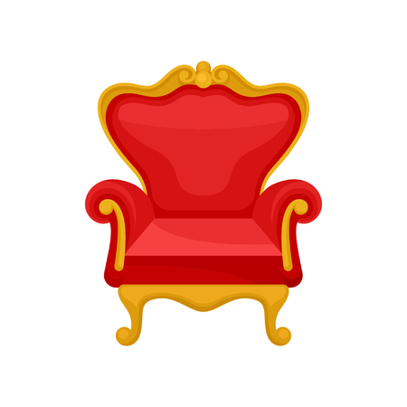 Royal throne, heraldic symbol, monarchy attribute vector Illustration isolated on a white background.
