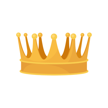 Golden royal crown, heraldic symbol, monarchy attribute vector Illustration isolated on a white background.