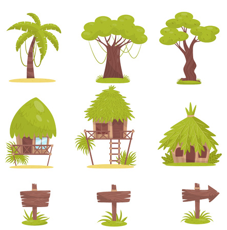 Tropical tree, bungalows and old wooden road signs, design elements of tropical jungle forest landscape vector Illustration isolated on a white background.