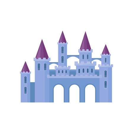 Beautiful purple castle with towers and conical roofs. Medieval fortress. Flat vector element for children book