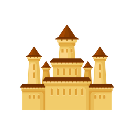 Flat vector icon of medieval palace. Yellow castle with conical roofs. Element for poster of children entertainment center Stock Vector - 109250477