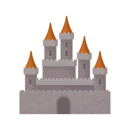 Château médiéval fantastique. Grande forteresse royale avec de hautes tours et des toits coniques rouges. Élément de vecteur plat pour jeu mobile Vecteurs