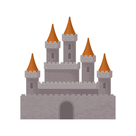 Medieval fantasy castle. Great royal fortress with high towers and red conical roofs. Flat vector element for mobile game