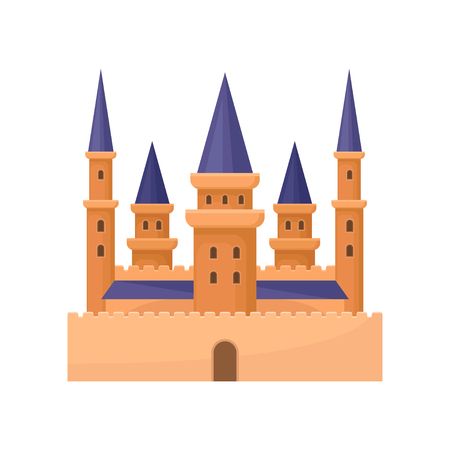 Flat vector icon of royal palace. Castle with high towers and purple conical roof. Element for mobile game or children book Stock Vector - 109250481
