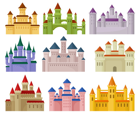 Flat vector set of colorful royal castles. Large fortresses with high towers. Elements for children book or mobile game