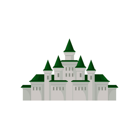 Big royal castle. Medieval palace with towers and green conical roofs. Flat vector element for mobile game