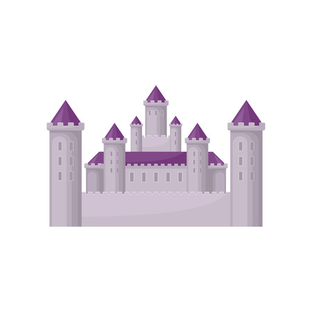 Fairy tale castle with high towers and purple conical roofs. Medieval building. Flat vector for children book or mobile game