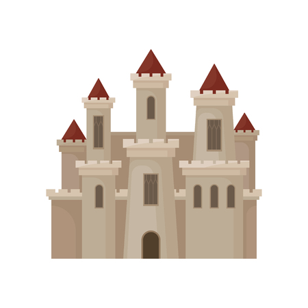 Large royal castle. Fortress with big windows, high towers and red conical roofs. Flat vector for children book Illustration