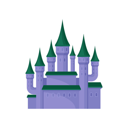 Large purple castle. Royal palace with high towers and green conical roofs. Flat vector element for mobile game