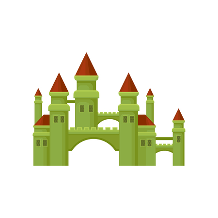 Small medieval castle. Green fortress with brown conical roofs. Flat vector for promo poster of children entertainment center