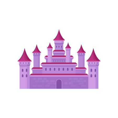 Big fairy tale castle with high towers and conical roofs. Pink medieval fortress. Flat vector for children book Illustration